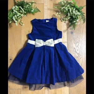 Gymboree girls size 4 blue velvet bow dress